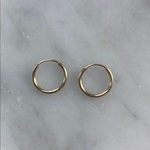 Solid 14k gold huggie hoops tragus rings earrings